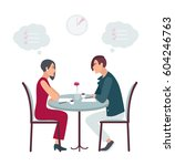 speed dating  date at the cafe. ... | Shutterstock .eps vector #604246763