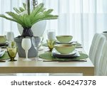 modern ceramic tableware in... | Shutterstock . vector #604247378