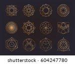 sacred geometry symbols... | Shutterstock .eps vector #604247780