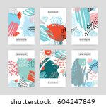 creative cards with abstract... | Shutterstock .eps vector #604247849