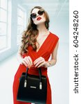 young beautiful fashionable... | Shutterstock . vector #604248260