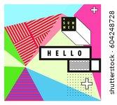 trendy vector summer cards... | Shutterstock .eps vector #604248728