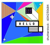 trendy vector summer cards... | Shutterstock .eps vector #604250684