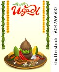 happy ugadi lettering text. set ... | Shutterstock . vector #604269500