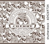 vintage cherry label on... | Shutterstock . vector #604269734