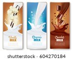 set of banners with chocolate... | Shutterstock .eps vector #604270184