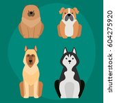 funny cartoon dog character... | Shutterstock .eps vector #604275920
