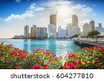 downtown miami on a beautiful... | Shutterstock . vector #604277810