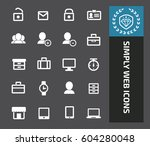 simply web icon set clean vector | Shutterstock .eps vector #604280048