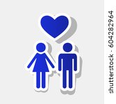 family symbol with heart.... | Shutterstock .eps vector #604282964