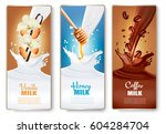set of banners with chocolate... | Shutterstock .eps vector #604284704