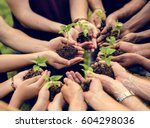 group of volunteer with sprout... | Shutterstock . vector #604298036
