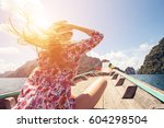 beautiful girl traveling by... | Shutterstock . vector #604298504