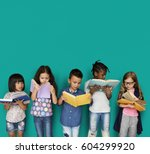 diverse group of kids study... | Shutterstock . vector #604299920