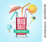 big sale summer concept banner... | Shutterstock .eps vector #604300238