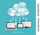 cloud computing concept with... | Shutterstock . vector #604303394