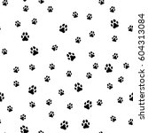 paw print seamless. traces of...   Shutterstock . vector #604313084