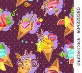 seamless pattern ice cream... | Shutterstock .eps vector #604320380