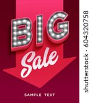 big sale sign. retro light... | Shutterstock .eps vector #604320758