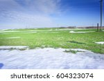 Melting Snow On Green Grass...