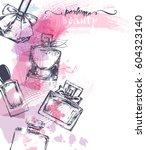 beautiful perfume bottle  on...   Shutterstock .eps vector #604323140