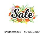 sale banner with vegetables... | Shutterstock .eps vector #604332200