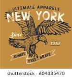 vintage college eagle print.... | Shutterstock .eps vector #604335470