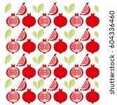 red fresh pomegranate... | Shutterstock .eps vector #604336460