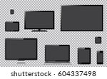 set of realistic tv  computer... | Shutterstock .eps vector #604337498