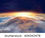 planet earth with a spectacular ... | Shutterstock . vector #604342478