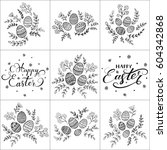 set of floral pattern and... | Shutterstock . vector #604342868