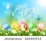 easter theme with a butterfly...   Shutterstock . vector #604342913