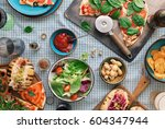 outdoors food concept. pizza ... | Shutterstock . vector #604347944