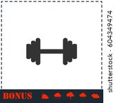 barbell icon flat. simple... | Shutterstock .eps vector #604349474