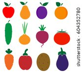 set of colored icons of... | Shutterstock .eps vector #604352780