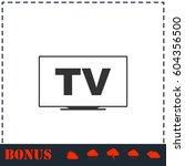 tv icon flat. simple vector... | Shutterstock .eps vector #604356500