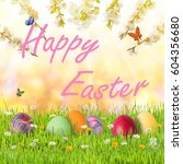 happy easter holiday background ... | Shutterstock . vector #604356680