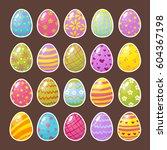 set of color easter eggs.... | Shutterstock .eps vector #604367198