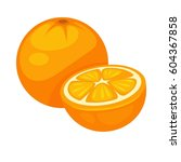 orange tropical fruit whole and ... | Shutterstock .eps vector #604367858