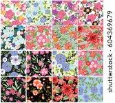 vector seamless pattern flowers ... | Shutterstock .eps vector #604369679
