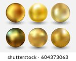 vector golden ball.realistic... | Shutterstock .eps vector #604373063