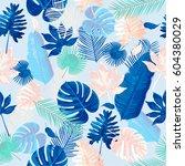 trendy summer tropical leaves... | Shutterstock .eps vector #604380029