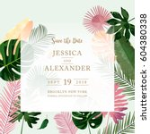 trendy summer tropical leaves... | Shutterstock .eps vector #604380338