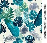 trendy summer tropical leaves... | Shutterstock .eps vector #604380503