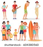 people and couples on vacation... | Shutterstock . vector #604380560