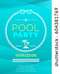 vertical blue pool party... | Shutterstock .eps vector #604381769