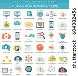 cloud data technology color... | Shutterstock . vector #604382456