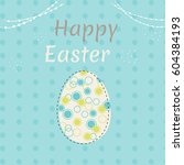 colorful happy easter greeting... | Shutterstock .eps vector #604384193