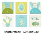 colorful happy easter greeting... | Shutterstock .eps vector #604385030