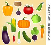healthy vegetables such as ... | Shutterstock .eps vector #604385480